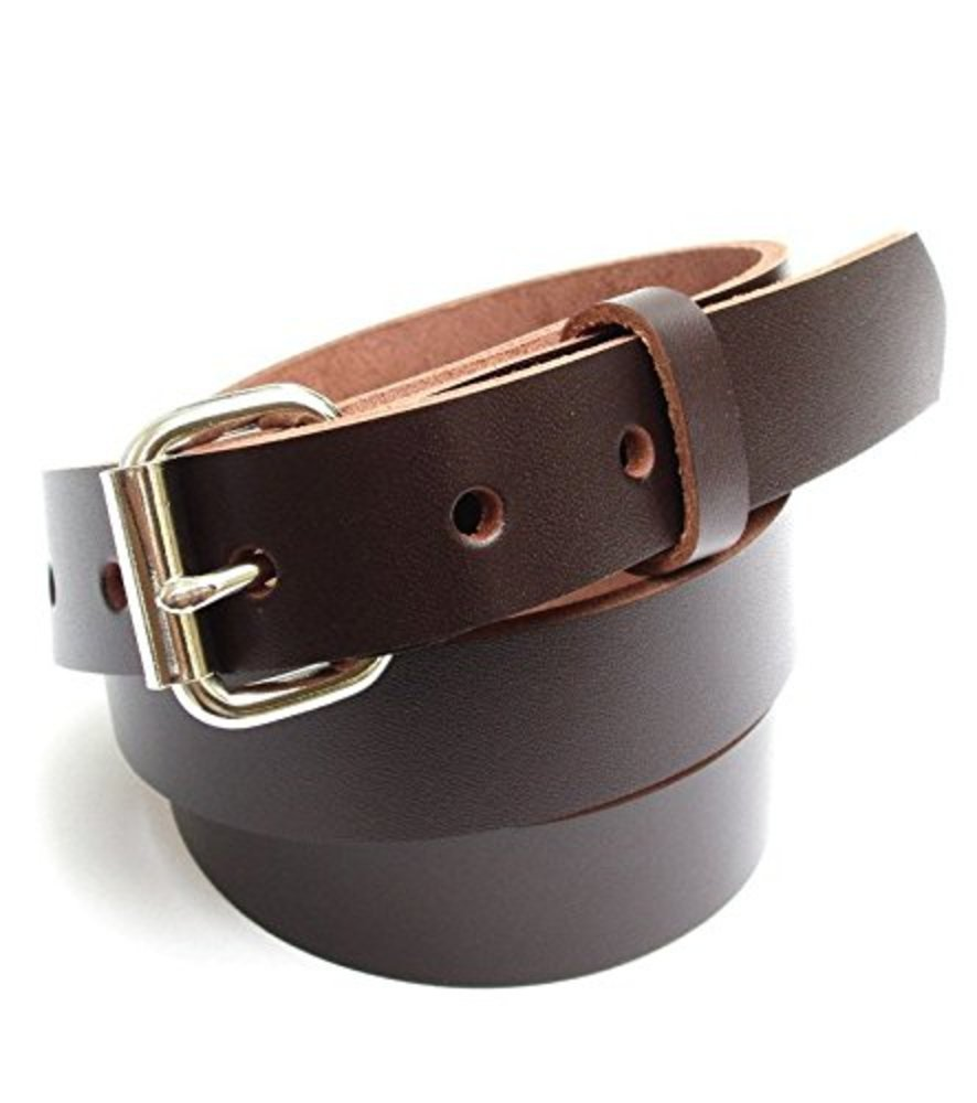 Dangerous Threads Boys Youth 1'' Heavy Duty Leather Belt - Various Sizes and Colors (26, Chocolate Brown)
