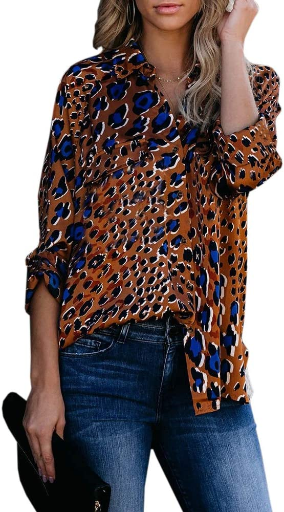 INFITTY Womens Button Down Collared Short Sleeve Shirts Loose Summer Oversized Leopard Print Tops Blouse Army Green Leoprad Medium