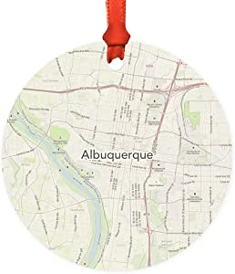 Andaz Press U.S. City Map Round Metal Christmas Ornament Gift, Albuquerque, New Mexico Vintage Map, 1-Pack, Long Distance College Going Away Study Abroad Birthday