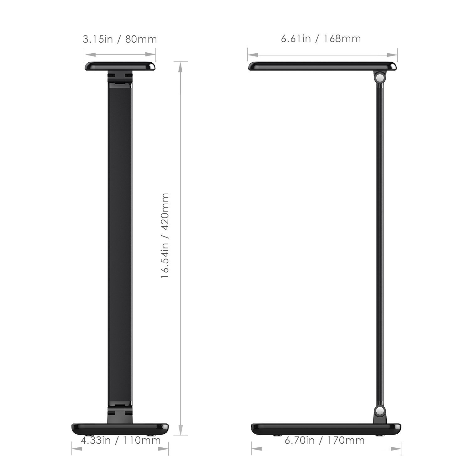 LED Desk Lamp 8W, Aglaia Eye-Caring Table Lamps with Dimmable Touch Control, Stepless Brightness Levels and Lighting Modes, Aluminum Alloy ARM, 1-Hour Auto Timer, Memory Function by Aglaia (Image #7)