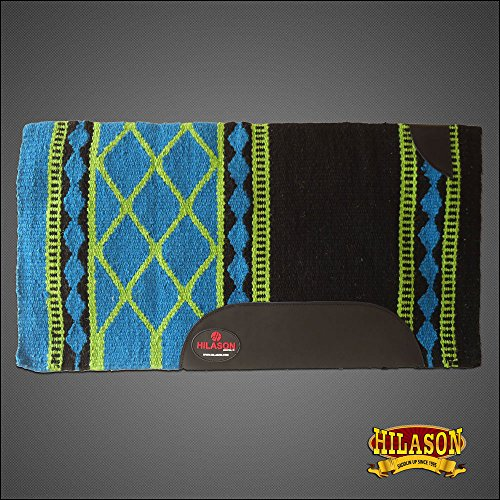 HILASON New Zealand Wool Saddle Blanket Western Barrel Racing Turquoise
