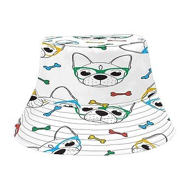 INTERESTPRINT Bulldog Fashion Design Bucket Hat for Men Women
