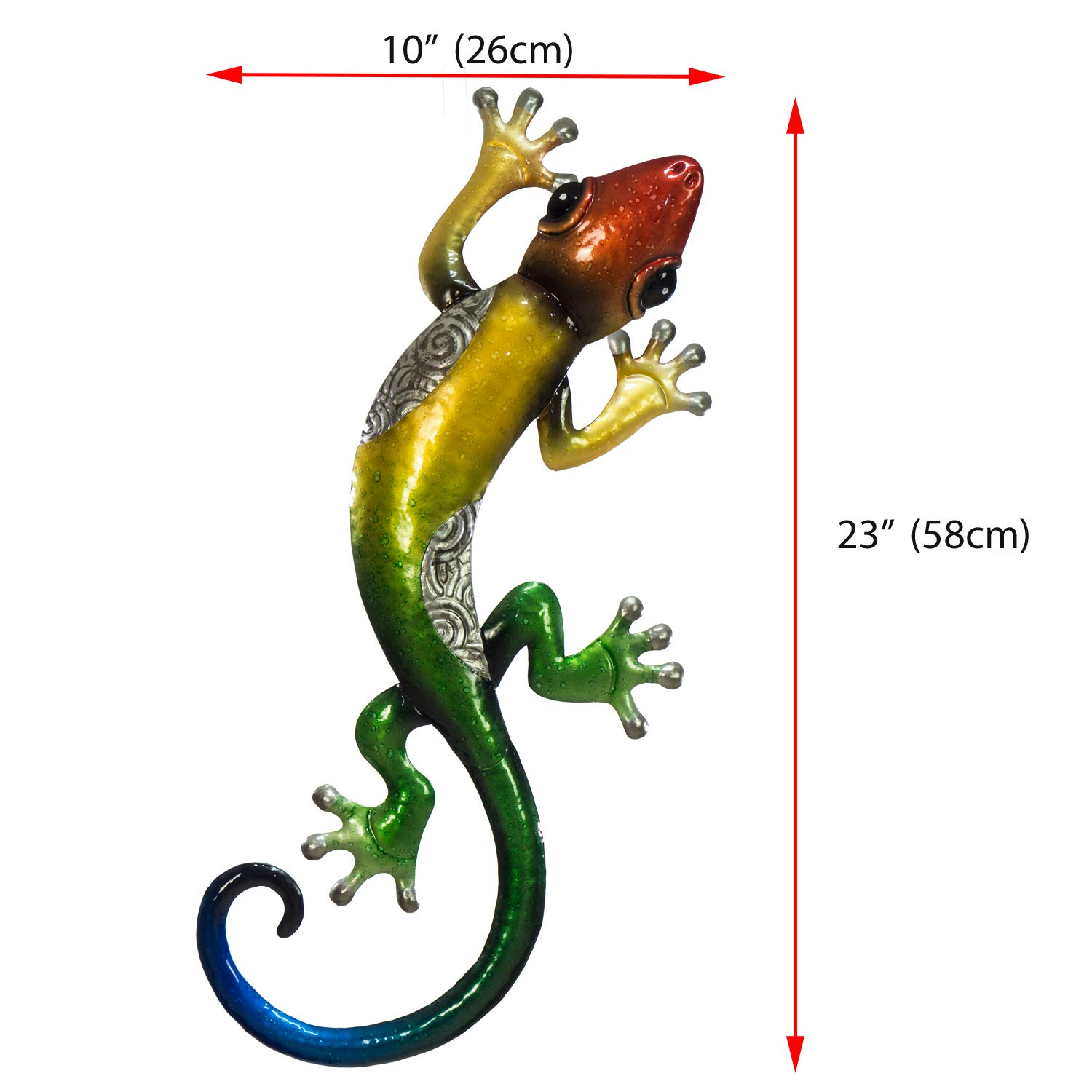 "Use Indoors or Outdoors Art 3D Design Nature Inspired Home Decoration Wall D/écor Hanging Hand Painted in Bold Colors Large Size 23/"" x 10/"" Gecko Metal Wall Decor"