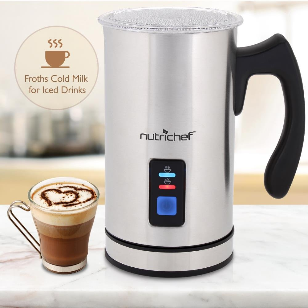 NutriChef Upgraded Dual Electric Milk Frother and Warmer - Sleek Compact Stainless Steel Steamer w/ Automatic Power Off Function and LED Light Indicator Perfect for Foamer and Creamy Latte - PKMFR14 by NutriChef (Image #5)