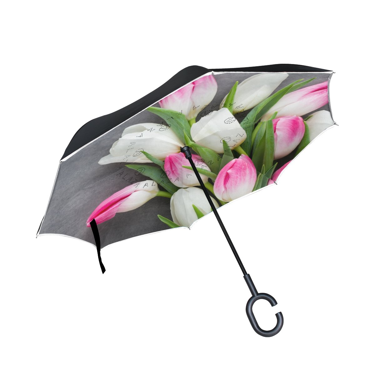 Double Layer Inverted Umbrella Reverse Folding Umbrella C Shape Handle Golf Umbrella Pink Tulip
