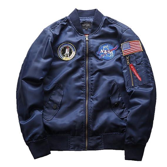 26ab4d033 CHENMA Hommes NASA Broderie À Manches Longues Matelassé Bomber Veste Biker  Manteau