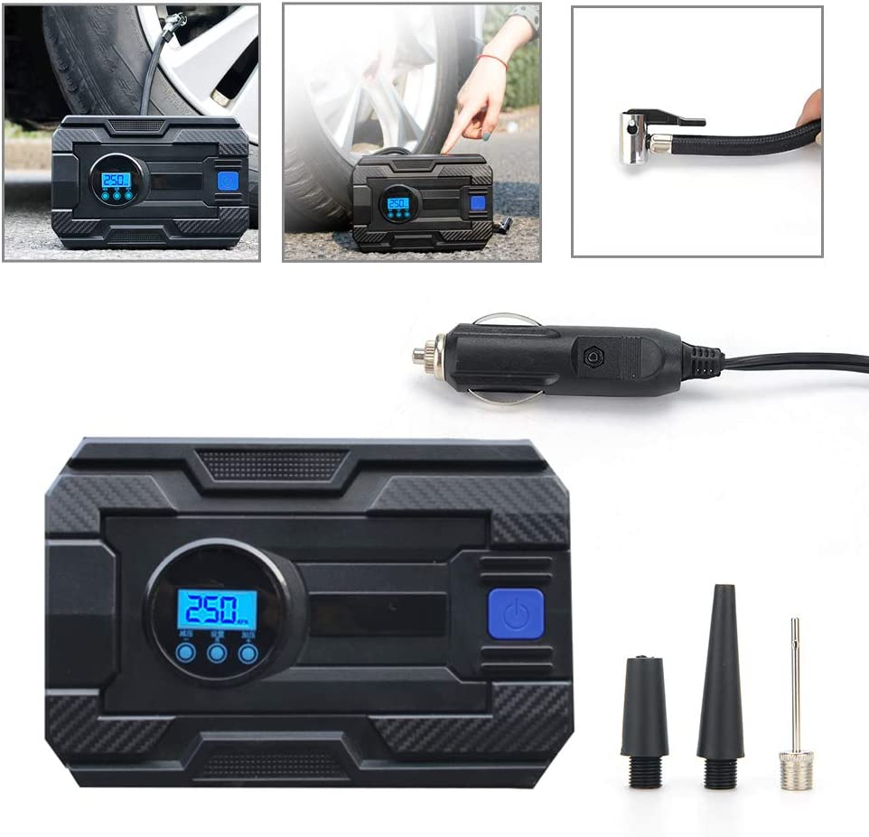 Shoze Tyre Inflator Portable Digital Air Compressor Car Tyre Pump 12V 150PSI Rapid Inflator Air Pump with 3 Nozzle Adaptors for Van Car Bicycle Motorcycle Balls