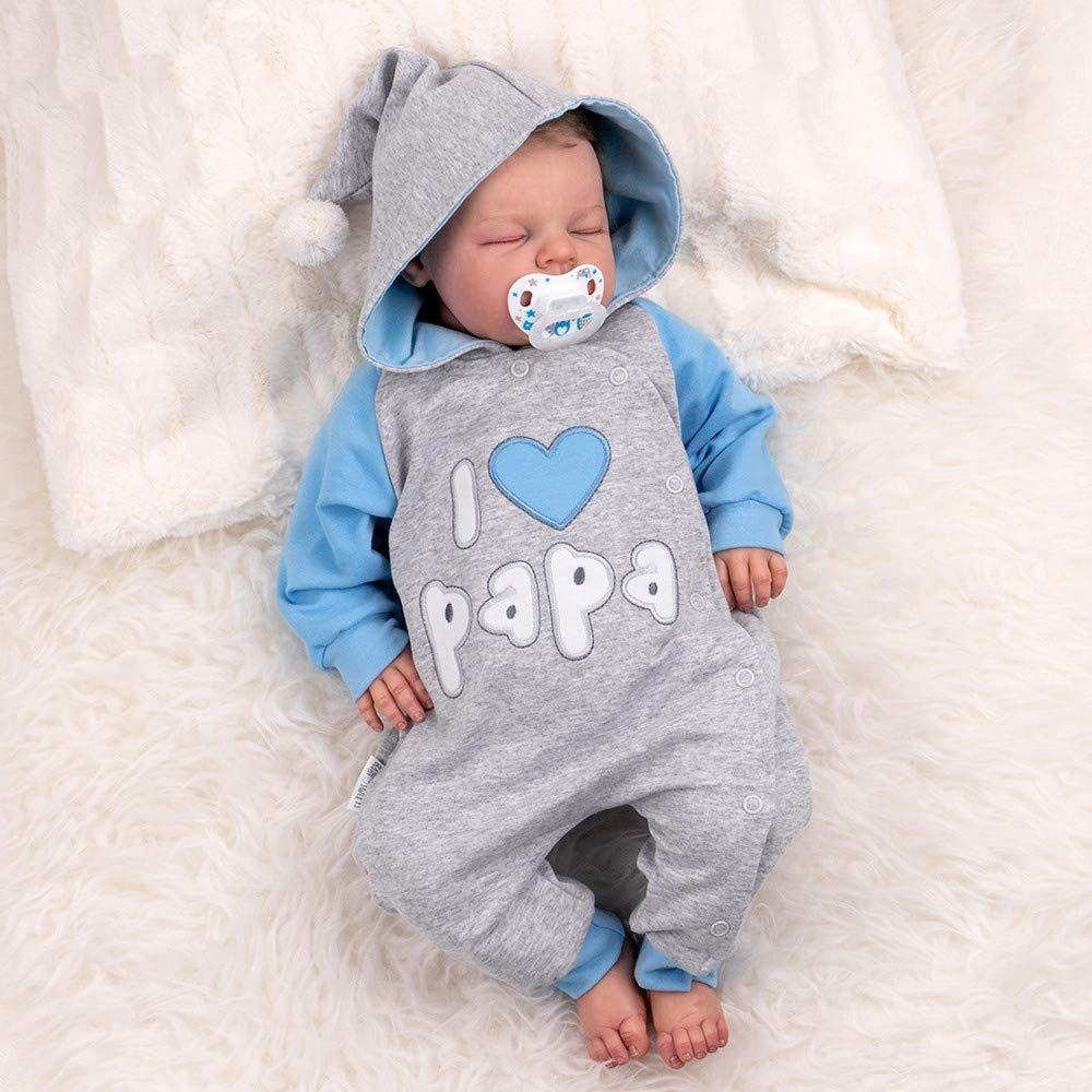 /… Babystrampler mit Kapuze f/ür Neugeborene /& Kleinkinder Gr/ö/ße: 3-6 Monate Motiv: I Love Papa 68 Baby Sweets Overall Jungen grau blau