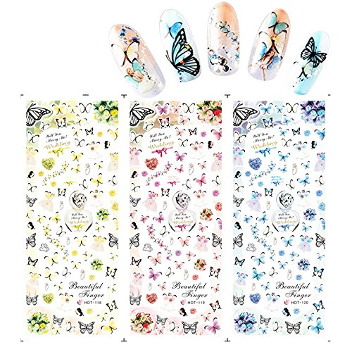 KADS Nail nails stick a manicure special HOT series butterfly diamond ring of flowers-1 Pack 3 design (Diamond Rings For Nails)