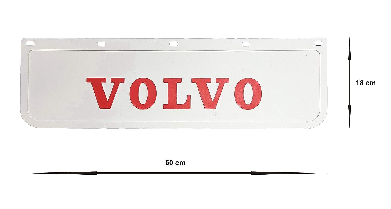 2 pezzi Parafanghi in gomma resistente bianco con rimorchio rosso 60 x 18 cm