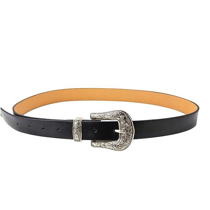 5ae23f99a4 Auspiciousi Cowboy Style Cinture per le donne Vintage Carving metallo Pin  fibbia della cintura per jeans in pelle PU cinturino da donna,Black:  Amazon.it: ...
