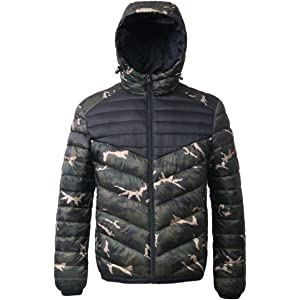 cf6918cc4edf7 Rokka&Rolla Men's Lightweight Water Resistant Hooded Quilted Poly Padded Puffer  Jacket
