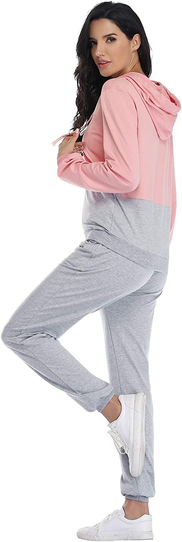 Irevial Damen Jogginganzug Traingsanzug Sportanzug 2 Teilig Freizeitanzug Kapuzenpullover Lange /Ärmel Sportswear Set Sport Yoga Outfit Bekleidungsset Sport