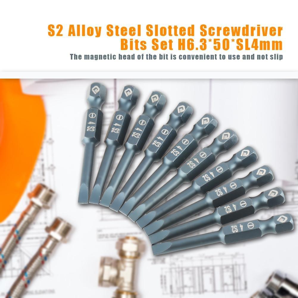 Magnetic Flat Head 1//4 Inch Hex Shank,S2 Alloy Steel H6.3*50*SL4mm 10pcs 50mm Slotted Screwdriver Bits Set