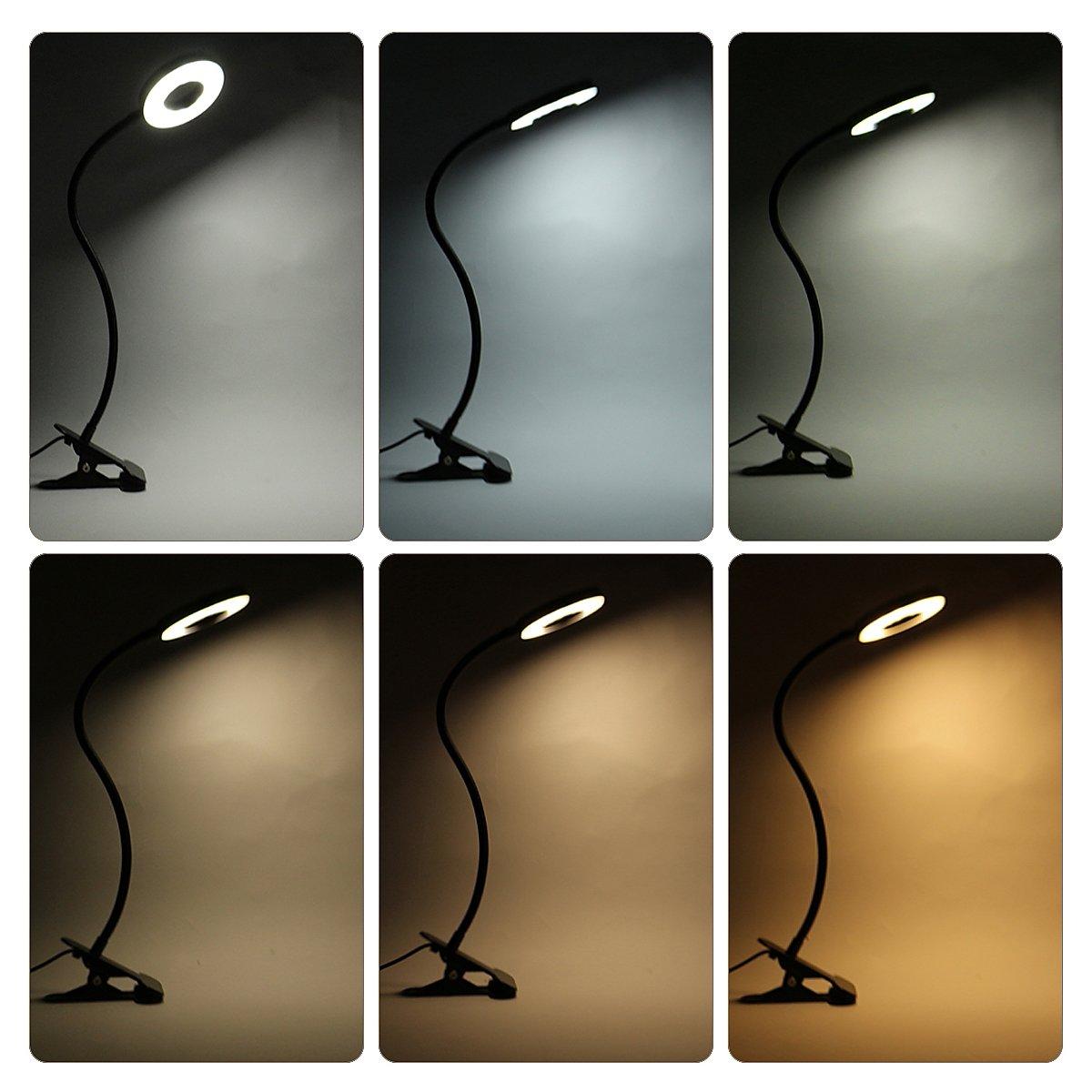 Kernorv Clip on Light/Reading Lights, 5W LED USB Dimmable 5 Color Modes Clip on Light Adjustable Brightness Portable Bed Reading Light Clip Lights for Bed Desk Headboard by Kernorv (Image #3)