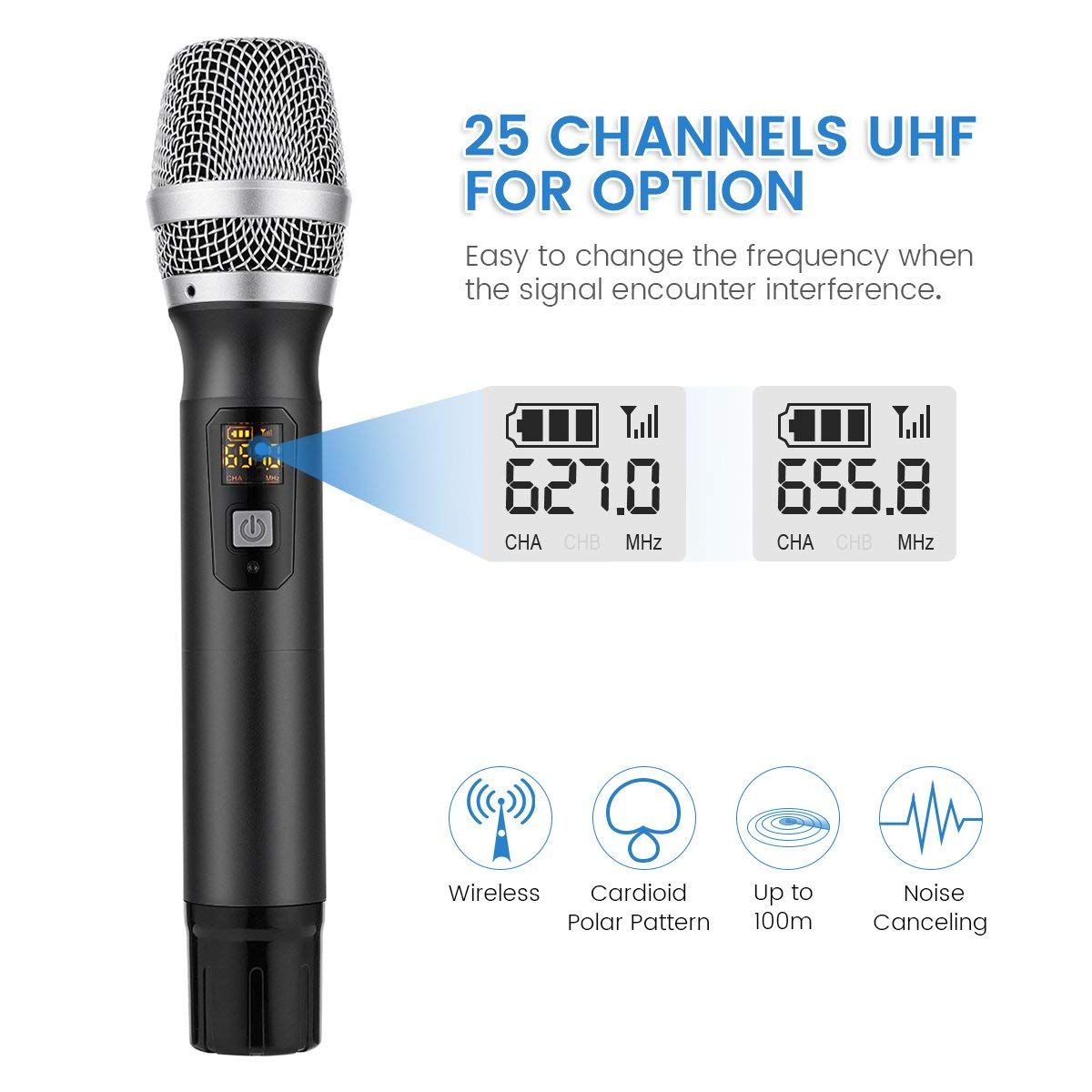 EIVOTOR Micrófono Inalámbrico Profesional Micrófono Dinámico Vocal Micrófono de Mano Portatil Wireless Microphone Cardioide Micro con Receptor 25