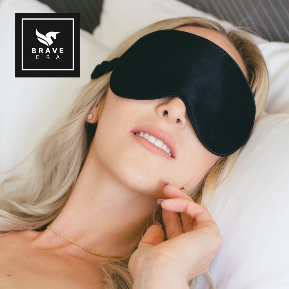 100% Silk Hypoallergenic Sleep Mask with Compact Travel Pouch and Gift Box by Brave Era (Raven Black) by Brave Era (Image #3)