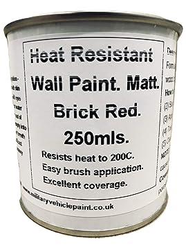 1 x 250 ml de ladrillos mate rojo con pintura para pared. Para madera estufa