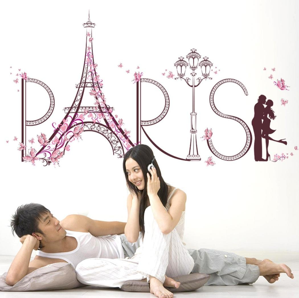 Iusun Sweet Paris Tower Wall Stickers Romance Decoration Home Decal Removable