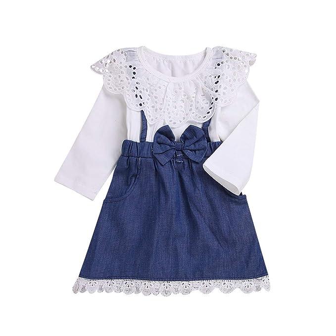 Puseky Vestido de Mezclilla de Encaje de niña pequeña de Bowknot Falda de Liga Falda Trajes Ropa: Amazon.es: Ropa y accesorios