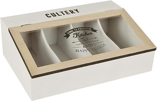 LORENZON Caja Porta Cubiertos de Madera con Tapa Premium Kitchen 4 plazas: Amazon.es: Hogar