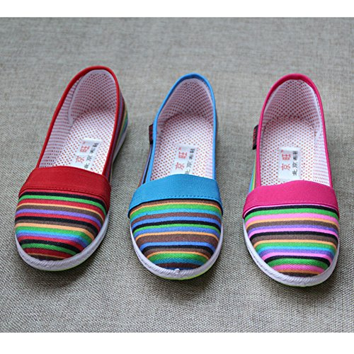 Donna Maybest Mocassini Strisce Arcobaleno Flats On Morbide Slip TdzRRqxw