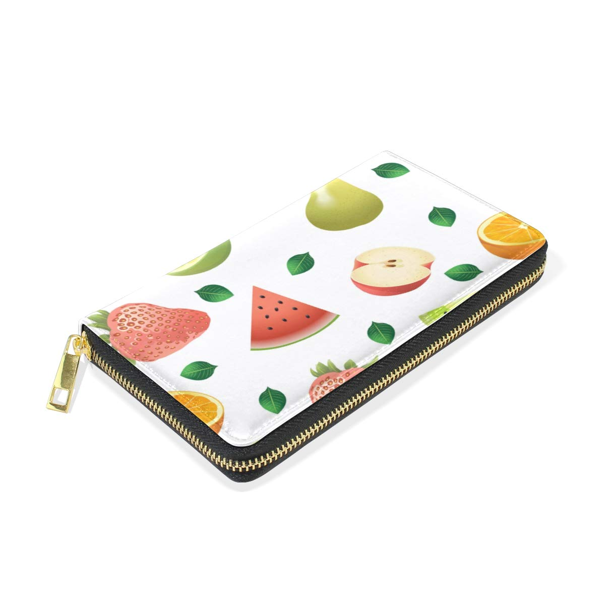 Women Wallet Coin Purse Phone Clutch Pouch Cash Bag Female Girl Card Change Holder Organizer Storage Key Hold Leather Elegant Handbag Party Birthday Gift Fruit