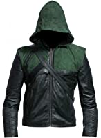 Green Arrow Stephen Amell Hooded Synthetic Leather Costume Jacket