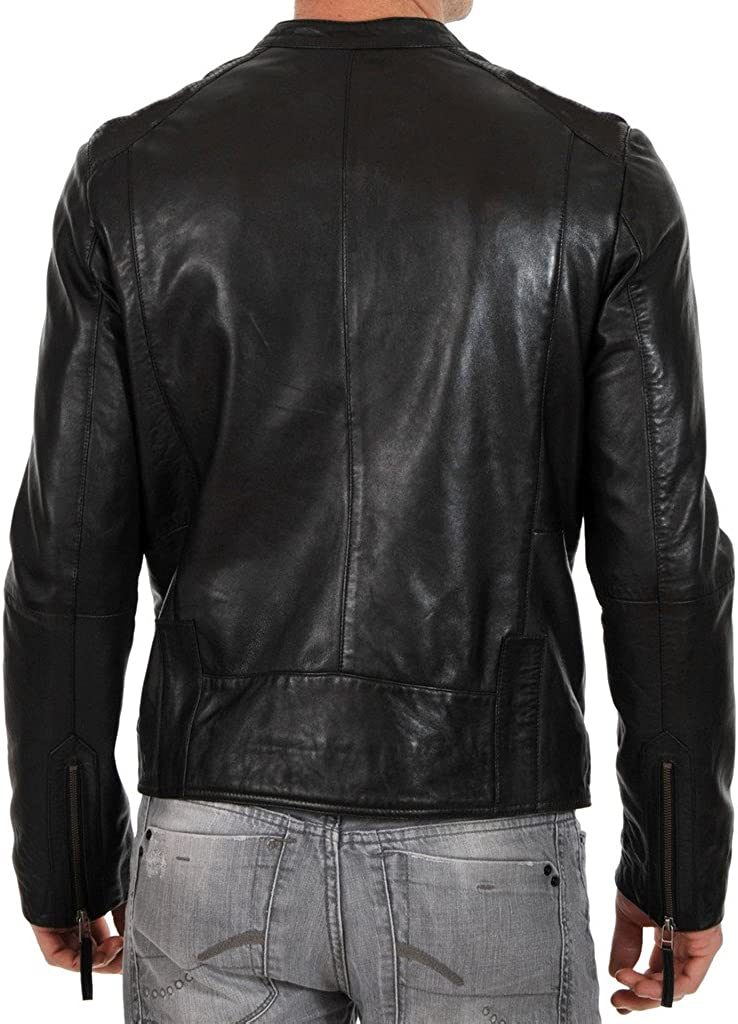 New Mens Motorcycle Leather Jacket Custom Made LF211