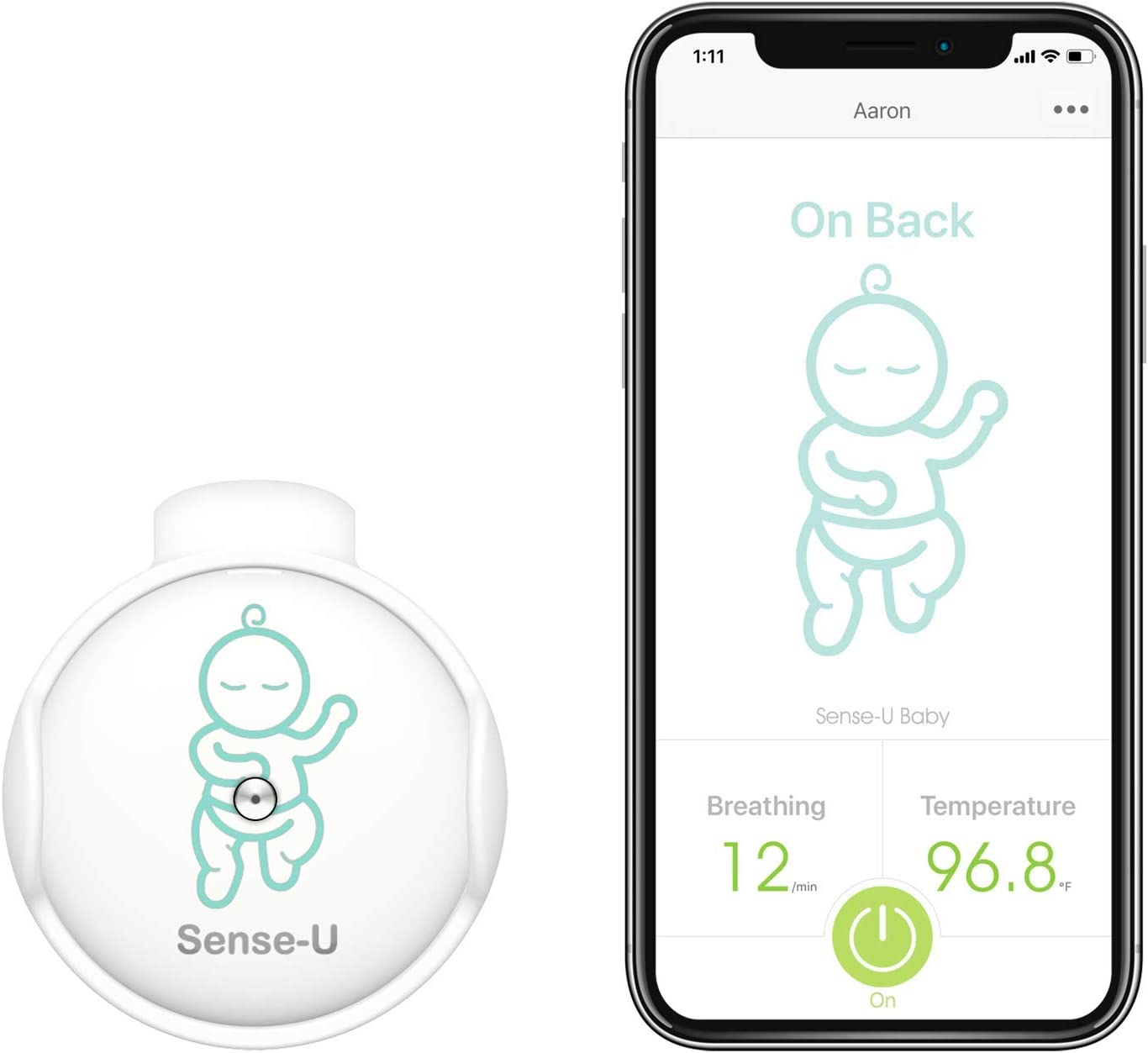 (Nuevo modelo 2020) Monitor de bebé Sense-U con sensores de movimiento de rotación de respiración: rastree la respiración, la rotación y la temperatura corporal de su bebé con un nuevo cierre