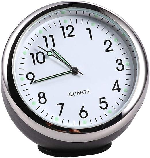 Garneck Auto Uhr Leuchtend Rund Quarz Analog Armaturenbrett Uhr Universal Tasche Mini Tisch Timer Auto Interieur Ornament Schwarz Weiß Beleuchtung