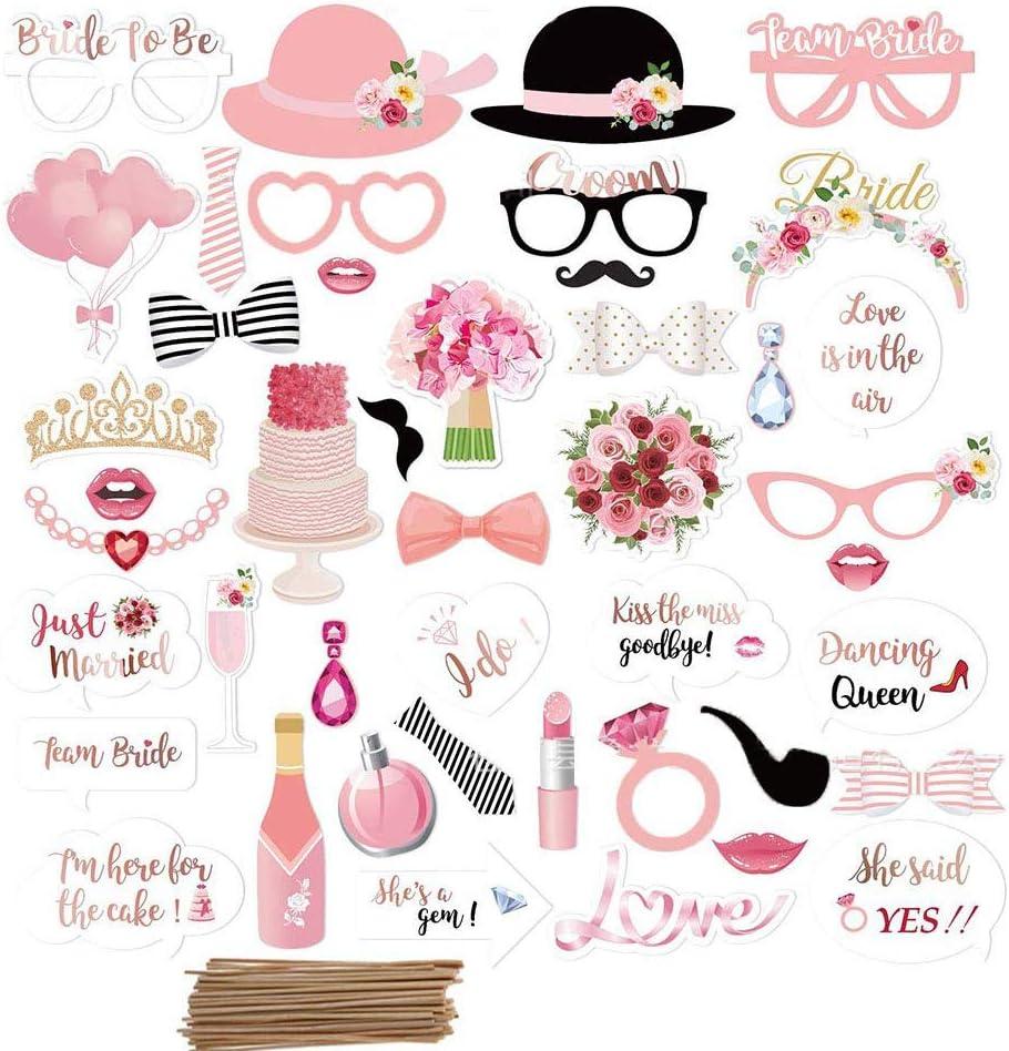 Amycute 44 pcs Boda Photo Booth Props, DIY Bigotes Gafas Sombreros Labios Lazo corbata anillo collar para el partido de la boda, Aniversario,compromiso, Accesorios para fiestas