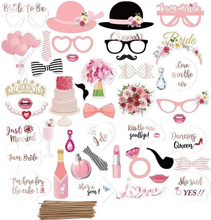 Amycute 44 pcs Boda Photo Booth Props, DIY Bigotes Gafas Sombreros ...