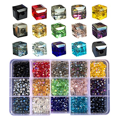 Bead Bracelet Holiday Faceted (Chengmu 4mm Cube Glass Beads for Jewelry Making Faceted Shape 1050pcs Multicolor AB Colour Crystal Spacer Beads for Bracelets Necklaces with Elastic Cord Storage Box)