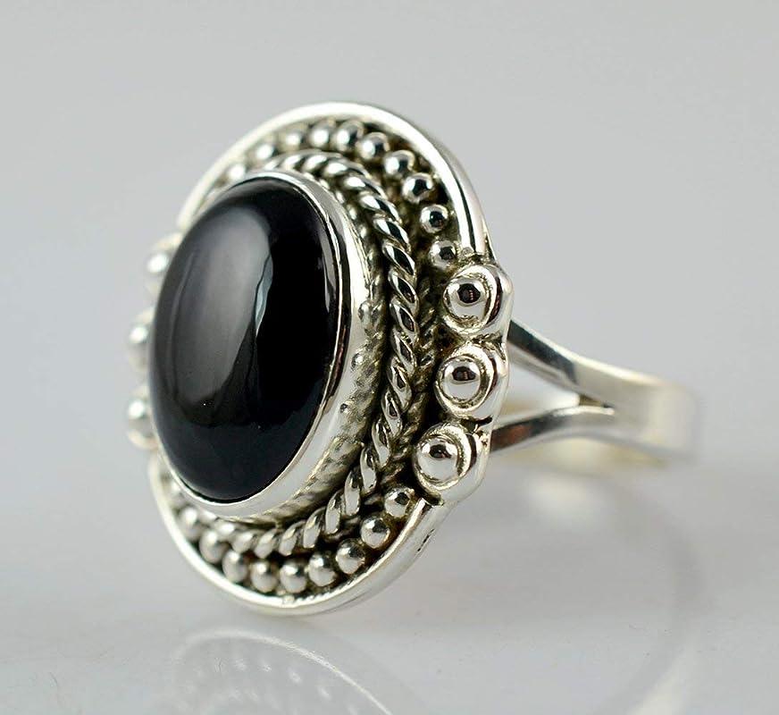 Onyx 925 Sterling Silver Ring Women Band Designer Party Jewellery SJR5369-PAR