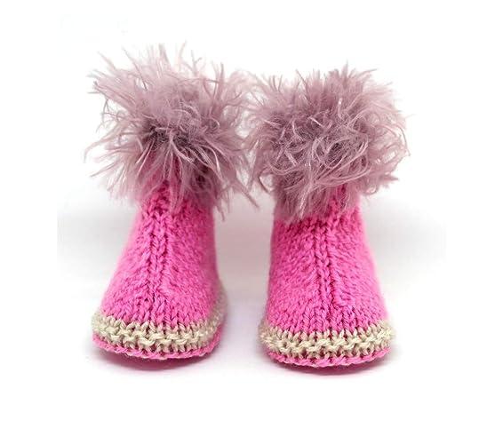 Botines rosados para bebés, Botines tejidos a mano, Zapatos de bebé,