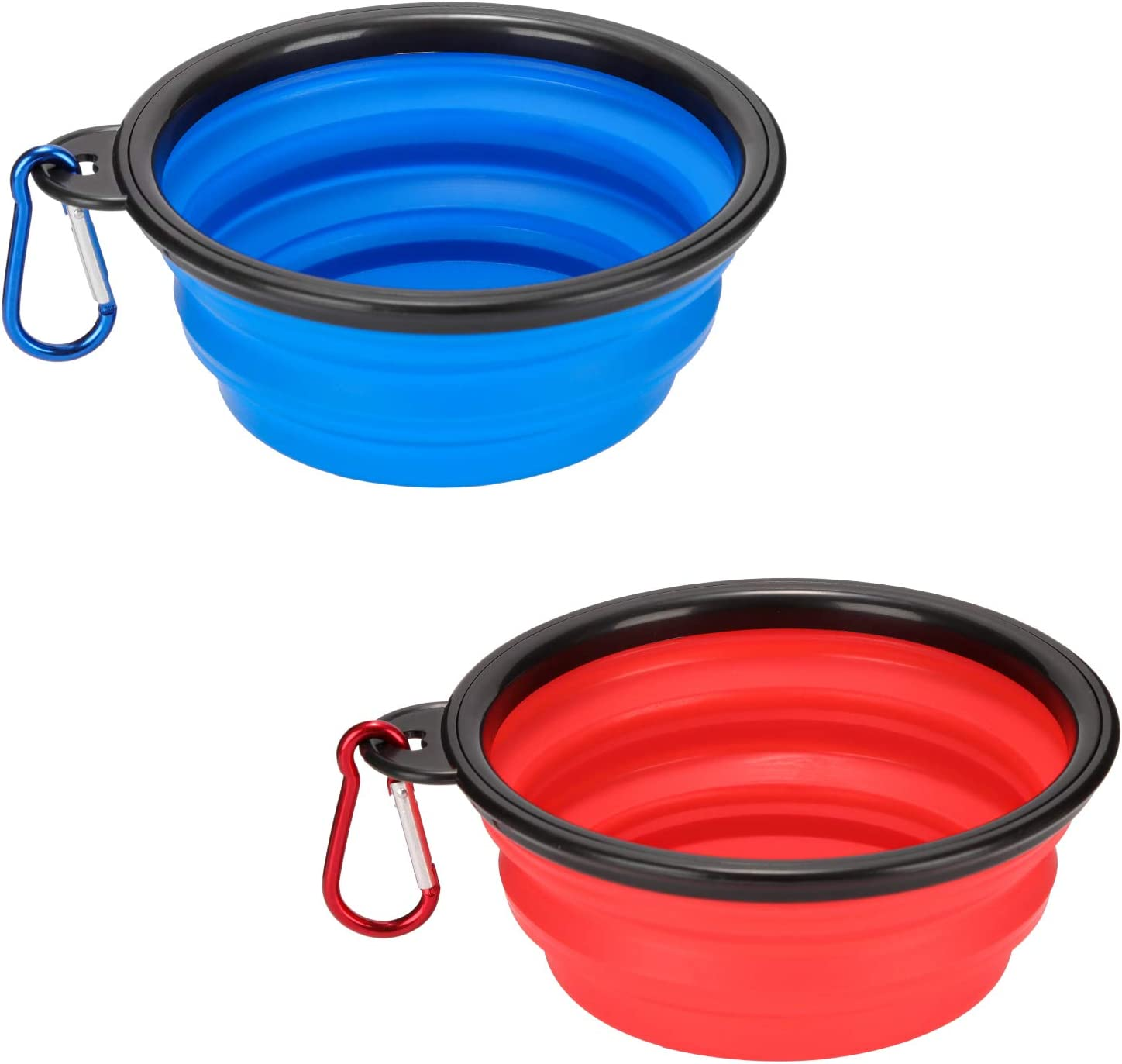 Emoly 2 Pack Large Size Collapsible Dog Bowl, Food Grade Silicone BPA Free, with Carabiner Clip Foldable Expandable Cup Dish for Pet Cat Food Water Feeding Portable Travel Bowl (Blue & Red)