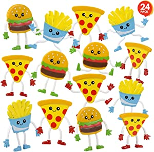 ArtCreativity Fast Food Bendable Figures, Set of 24 Novelty Food Shaped Bendy Figurines, Stress Relief Fidget Toys, Birthday Party Favors, Goodie Bag Stuffers, Piñata Fillers for Kids