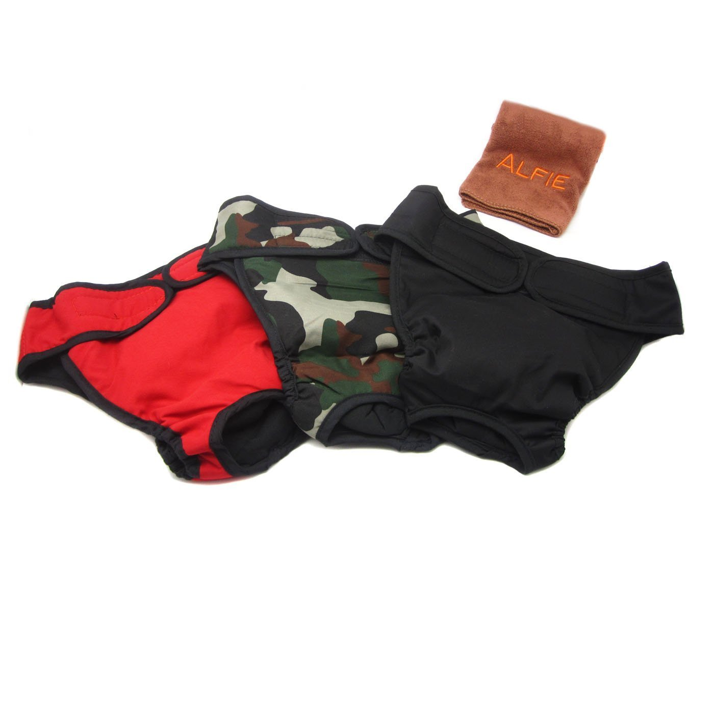 Alfie Pet by Petoga Couture - Max Diaper Dog Sanitary Pantie with Velcro Closure 3-Piece Set with Microfiber Fast-Dry Washcloth - Colors: Black, Camo and Red, Size: XXL (for Girl Dogs)