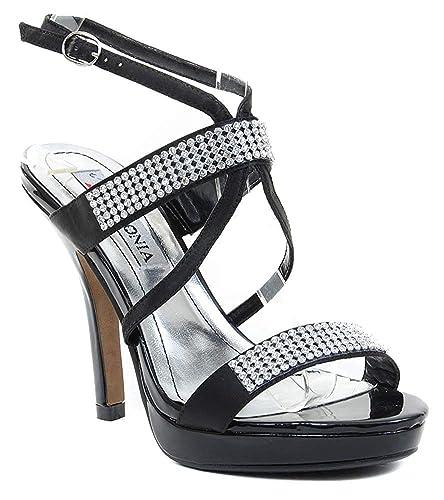 ec46be29d27ce1 Image Unavailable. Image not available for. Color  Fourever Funky Black  Satin Jeweled Strappy Anklet Platform Sandal Formal Heels