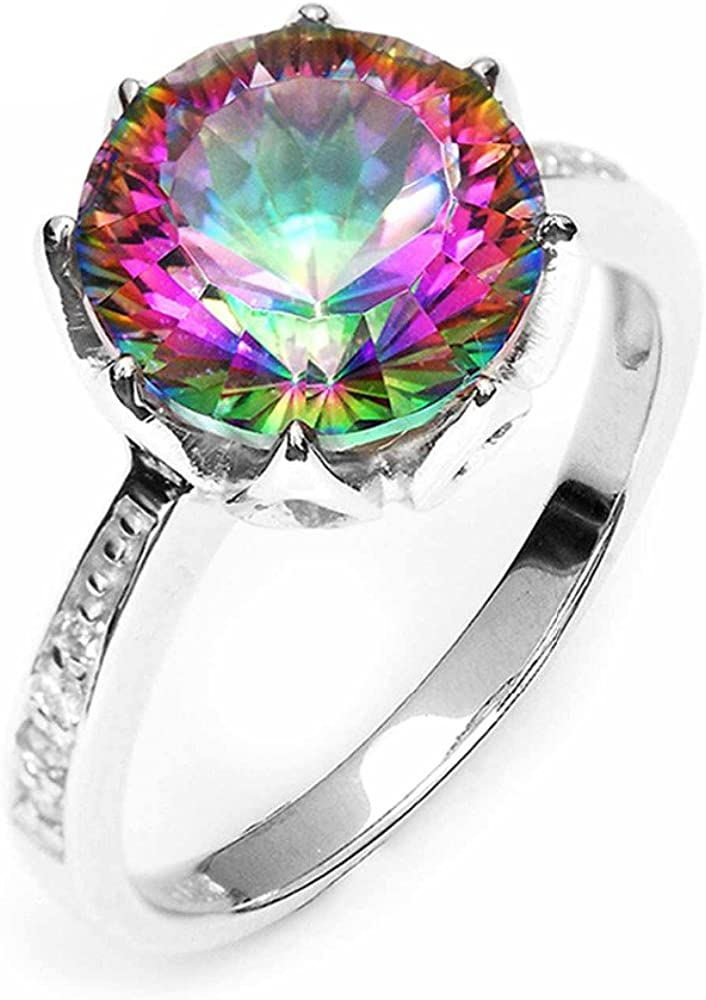 GOMORINGS Rings 4.3ct Rainbow Fire Mystic Topaz Round Concave Cut Solid 925 Sterling Silver Antique Gem stone Jewelry