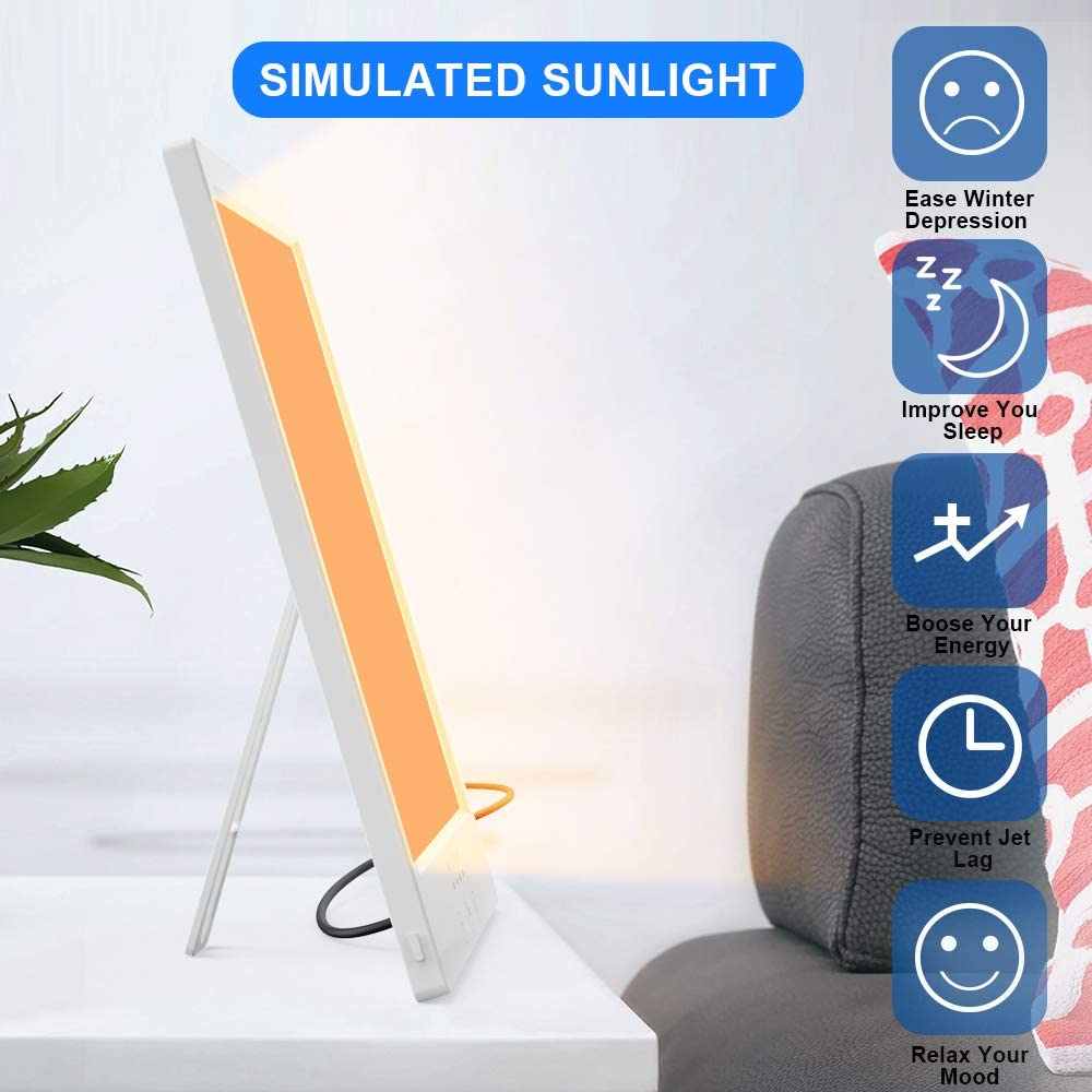 Light Therapy Lamp with Timer, Upgraded LED Light Therapy Energy Lamp with Timer Function and 360 Rotational Holder, UV-Free 10000 Lux 3 Adjustable Brightness Compact Size Sun Lights Therapy Box