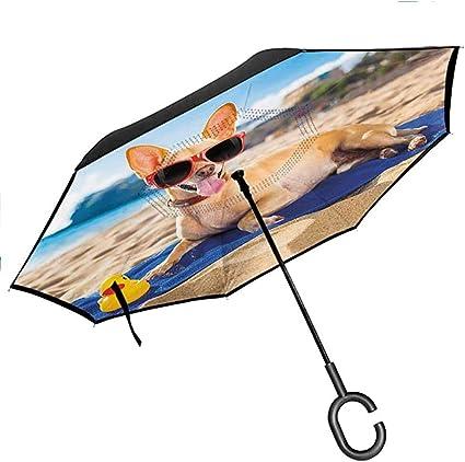 Paraguas invertido Divertido Chihuahua Perro en la Costa del océano Tomar el Sol Sonreír Encanto costero Imprimir Doble Capa Inversa Lluvia y Viento d Luz