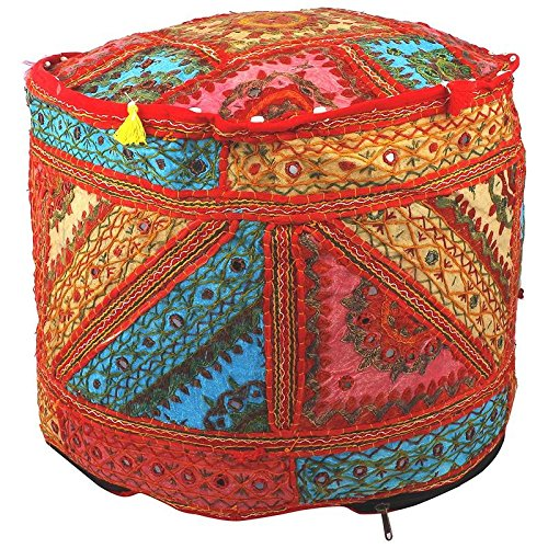 Indian Home Decor Cotton Cushion Ottoman Cover Indian Living Room Pouf, Foot Stool, Round Ottoman Cover Pouf,Traditional Handmade Decorative Patchwork Ottoman Cover,13x18''By MyCrafts