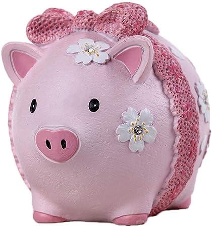 Burton /& Burton Girls Pink /& Green Circles Pig Piggy Bank Green Bow Ceramic Personalized Baby Nursery Decor
