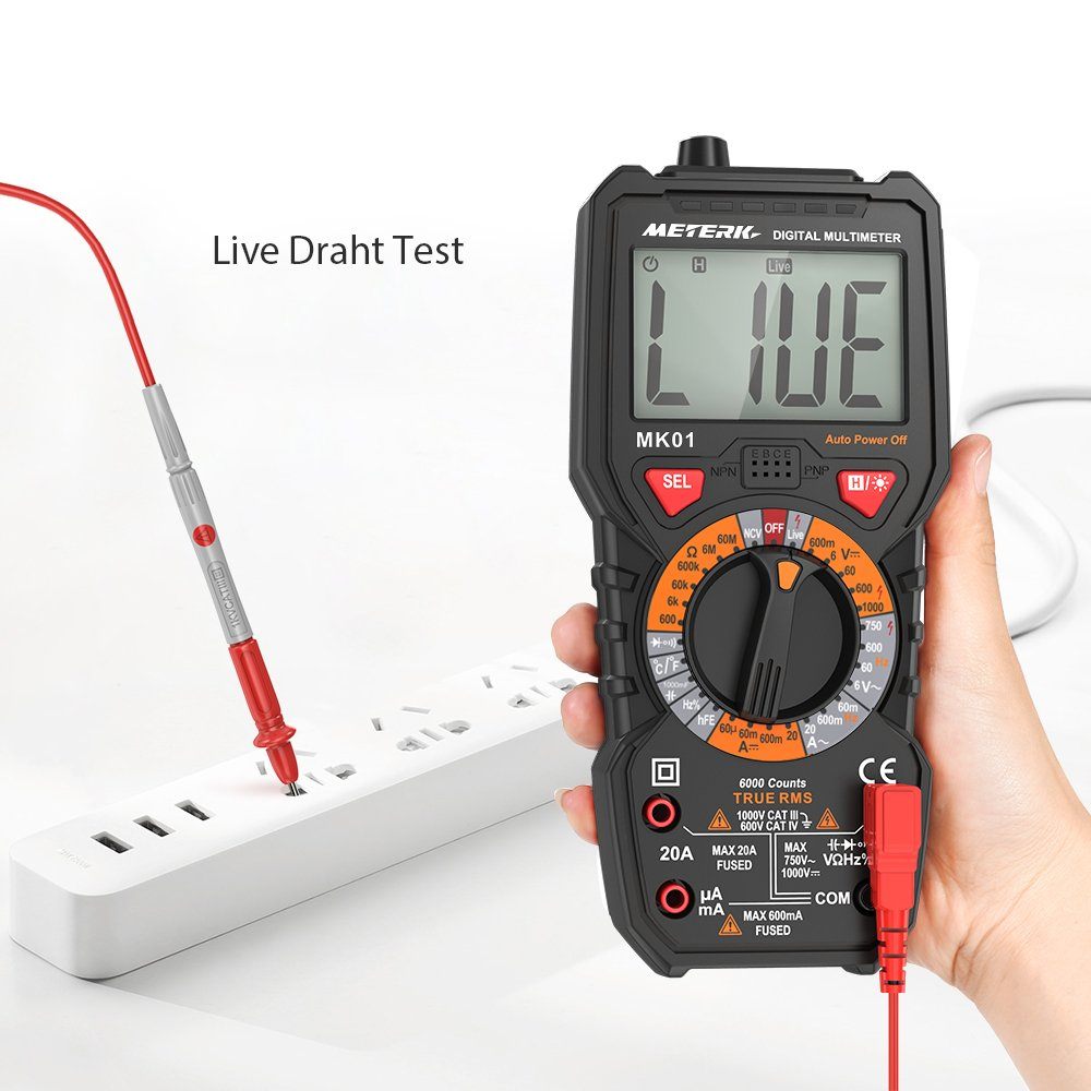 Meterk Digital Multimeter Multi Tester 6000 Counts Anti Short ...