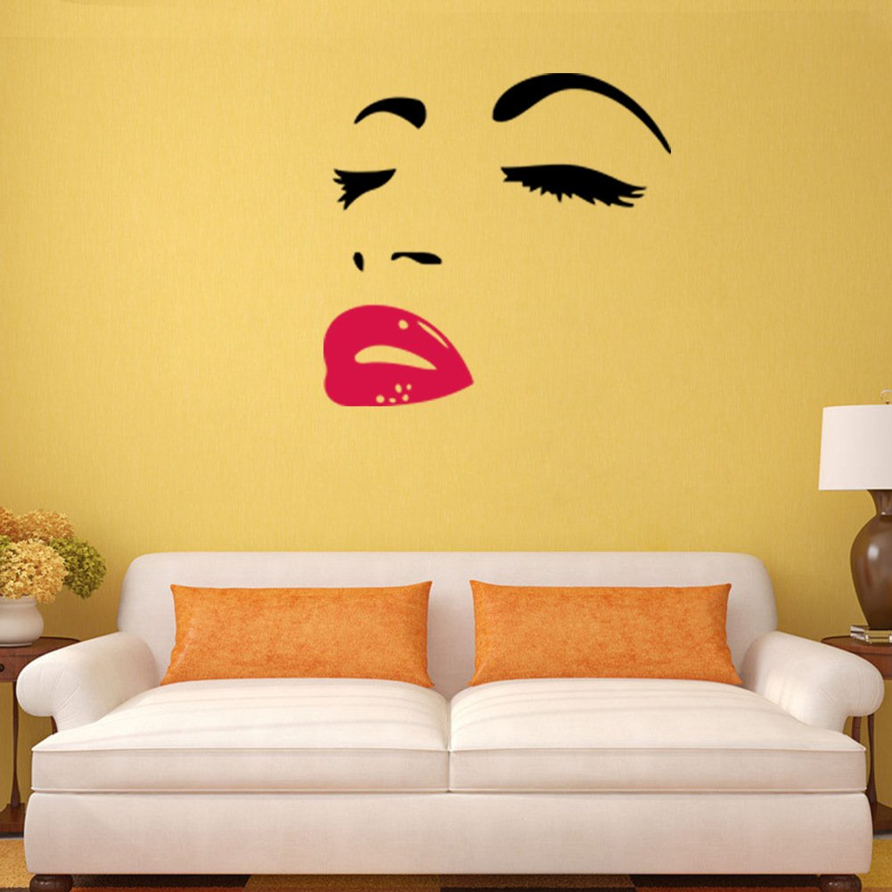 Amazon.com: AWAKINK Women\'s Face Star Decor Face Red Lips Sticker ...