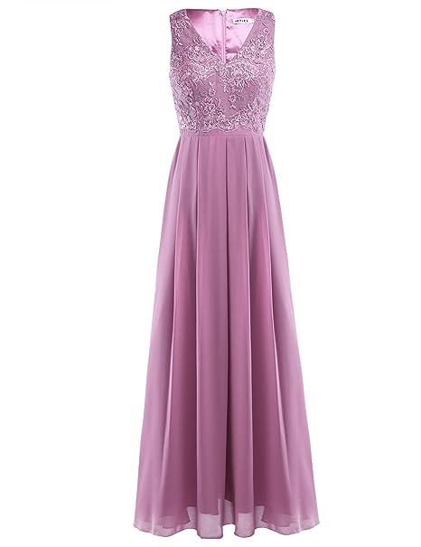 iEFiEL Vestido Largo de Boda Noche Cóctel para Mujer Vestido Flores Traje de Ceremonia para Dama
