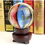 Sumnacon Boule en verre claire pour Photographie, Décoration - Sans bulle, Transparent avec le Support en Bois (60mm,80mm,100mm) (100mm)