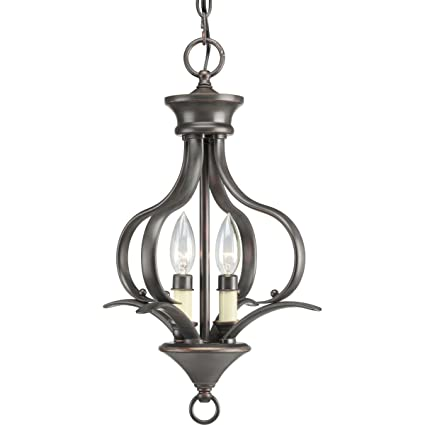 Progress lighting p3806 20 2 light foyer fixture antique bronze